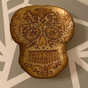 Gold Sugar Skull Decorative Bowl